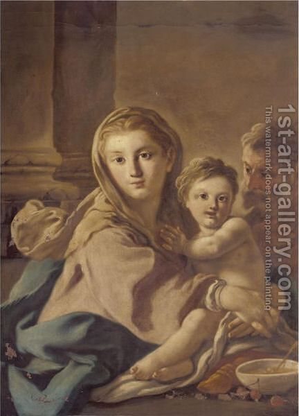 The Holy Family 2 by (after) Francesco De Mura - Reproduction Oil Painting