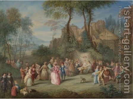 A Fete Galante In A Landscape Below A Hilltop Town by (after) Watteau, Jean Antoine - Reproduction Oil Painting