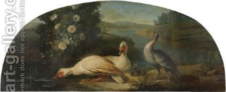A River Landscape With Three Waterfowl by (after) Claude-Francois Desportes - Reproduction Oil Painting