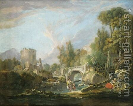 A Pastoral Landscape With Travellers Resting And Paddling In A Stream Before A Bridge, A Ruin Beyond by (after) Francois Boucher - Reproduction Oil Painting