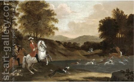 A Stag Hunt by (after) Jan Wyck - Reproduction Oil Painting
