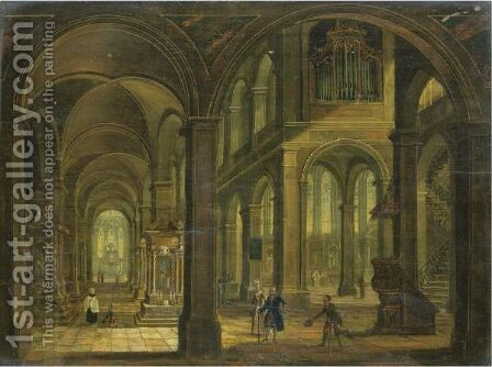 A Church Interior With Elegant Figures And Beggars by Christian Stocklin - Reproduction Oil Painting