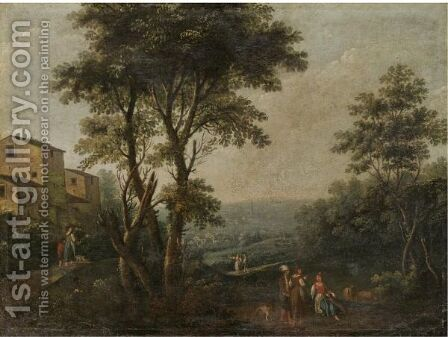 An Italianate Landscape With Figures Resting In The Foreground by Andrea Porta - Reproduction Oil Painting
