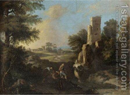 Landscape With Fishermen Near A Ruined Tower by (after) Andrea Locatelli - Reproduction Oil Painting