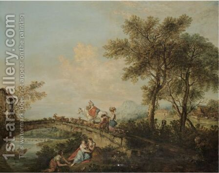 An Arcadian River Landscape With A Family And Their Animals Corssing A Bridge by (after) Francesco Zuccarelli - Reproduction Oil Painting