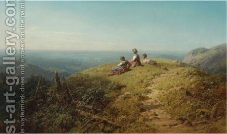 On Top Of The Hill by Carl Spitzweg - Reproduction Oil Painting