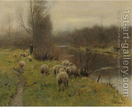 In The Pasture by Anton Mauve - Reproduction Oil Painting