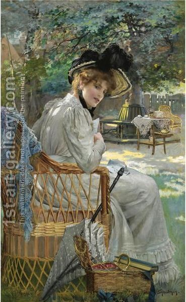 A Summer Afternoon In The Garden by Isaac Snowman - Reproduction Oil Painting