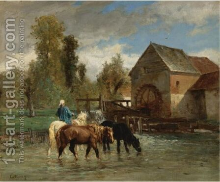 Watering The Horses by Constant Troyon - Reproduction Oil Painting