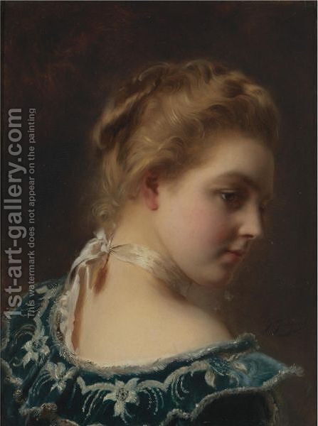 Young Beauty In A Green Dress by Gustave Jean Jacquet - Reproduction Oil Painting