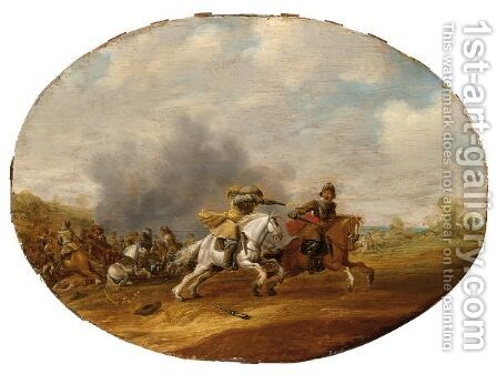 A Cavalry Skirmish With A Battle Beyond by Abraham van der Hoef - Reproduction Oil Painting