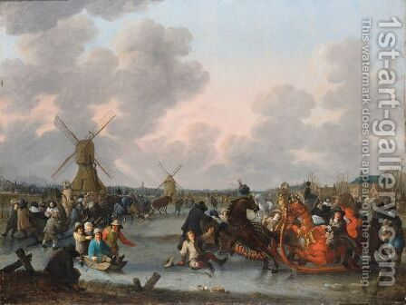 Ice Skaters And A Decorated Horse-Drawn Sleigh On A Frozen River With Windmills And A Town Beyond by Hendrick De Meijer - Reproduction Oil Painting