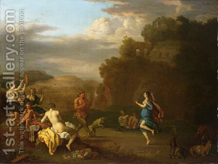 A Bacchanal Scene With Pan Playing The Flute by Daniel Vertangen - Reproduction Oil Painting