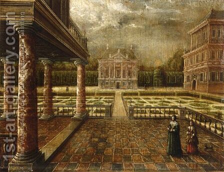 A Formal Garden With A Loggia And Two Palaces by (after) Louis De Caullery - Reproduction Oil Painting