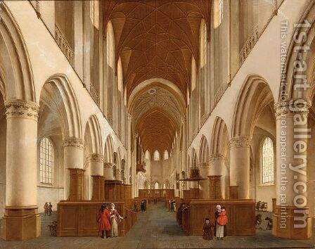 An Interior Of  The St Bavo, Haarlem by (after) Isaak Nickelen - Reproduction Oil Painting