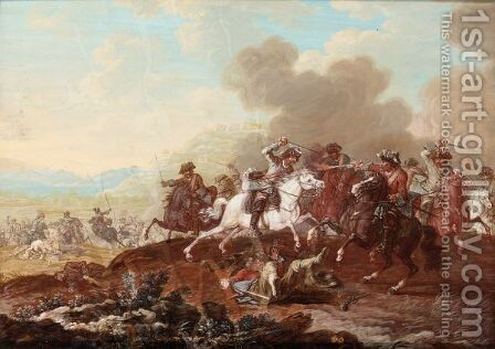 A Cavalry Skirmish 3 by (after) Rugendas, Georg Philipp I - Reproduction Oil Painting