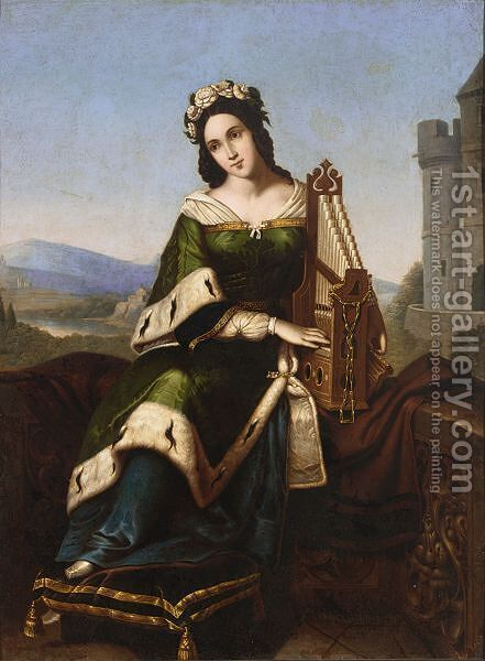 An Elegant Lady In Medieval Dress Playing A Small Organ by (after) Louis Ammy-Blanc - Reproduction Oil Painting