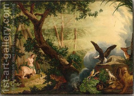 Adam And Eve In Paradise by Adolf Mosengel - Reproduction Oil Painting
