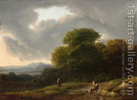 A Horseman On A Country Road And Figures In The Fields by (after) Lazare Bruandet - Reproduction Oil Painting