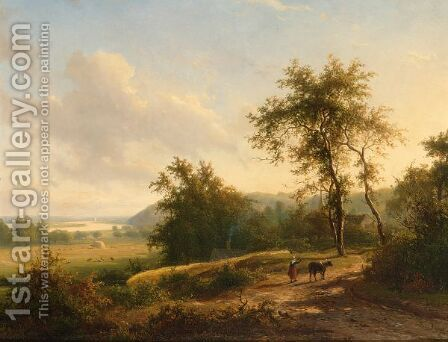 A Peasantwoman Leading A Cow On A Country Road by Jan Frederik Van Deventer - Reproduction Oil Painting