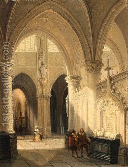 Figures In 17th Century Dress In A Church Interior by Jan-Baptiste Tetar van Elven - Reproduction Oil Painting
