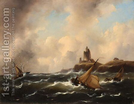 Ships Passing A Ruin In Choppy Waters by Govert Van Emmerik - Reproduction Oil Painting