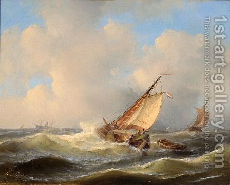 Shipping In Choppy Seas by Govert Van Emmerik - Reproduction Oil Painting