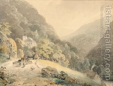 A Herdsman With His Cattle In A Mountainous Landscape by Cornelis Gerrit Verburgh - Reproduction Oil Painting