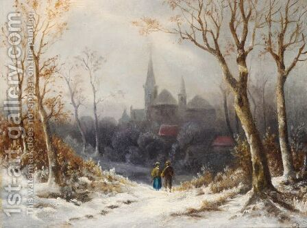 Figures In A Wintry Landscape, A Church Beyond by Colestin Burger - Reproduction Oil Painting