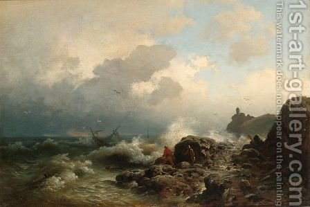 Fishermen On A Rocky Shore by Heinrich Ludwig Frische - Reproduction Oil Painting