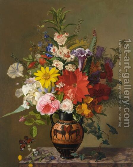 A Flower Still Life With A Greek Vase by Adolf Carl Senff - Reproduction Oil Painting
