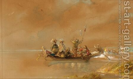 Soldiers On A Boat, One Blowing A Horn by Caspar Johann Nepomuk Scheuren - Reproduction Oil Painting