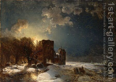 Soldiers Returning To Their Fort In A Moonlit Winter Landscape by Carl Hilgers - Reproduction Oil Painting