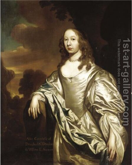 Portrait Of Alice, Countess Of Drogheda (1625-C.1696) by (after) William Wissing Or Wissmig - Reproduction Oil Painting
