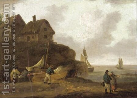 Fishermen Repairing Their Boats On The Shore by (after) George Morland - Reproduction Oil Painting