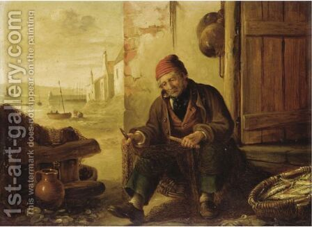 The Mackerel Fisherman by Alfred H. Green - Reproduction Oil Painting