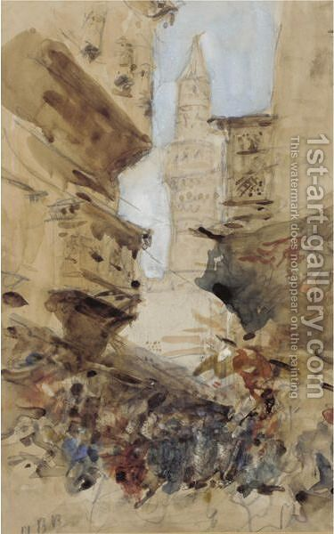 A Mosque In Cairo by Hercules Brabazon Brabazon - Reproduction Oil Painting
