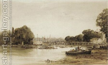 Putney Regatta by (after) Alfred Herbert - Reproduction Oil Painting