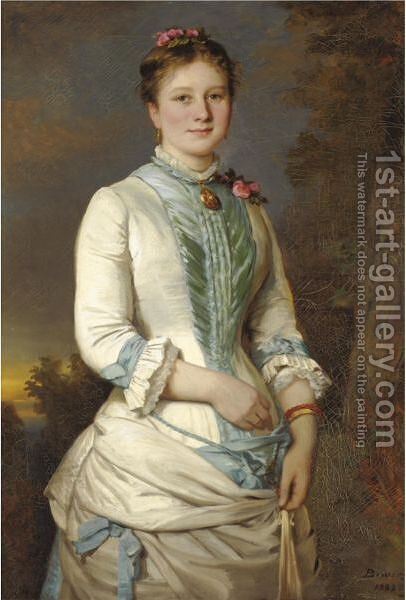 Portrait Of A Lady With Pink Roses by Clemens Brewer - Reproduction Oil Painting