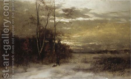 Winter Landscape With Huntsman And Dogs by Arvid Mauritz Lindstrom - Reproduction Oil Painting