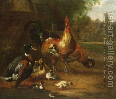 Ducks, A Cockerel And A Chicken In A Landscape by (after) Melchior D'Hondecoeter - Reproduction Oil Painting