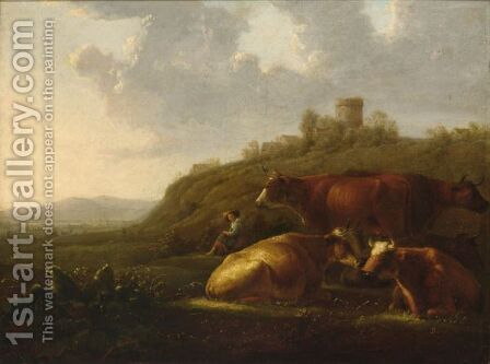 A Hilly Landscape With A Shepherdess Resting With Her Cattle, A View Of A Town Beyond by (after) Aelbert Cuyp - Reproduction Oil Painting