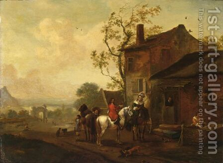 An Elegant Hunting Party Near An Inn by (after) Philips Wouwerman - Reproduction Oil Painting