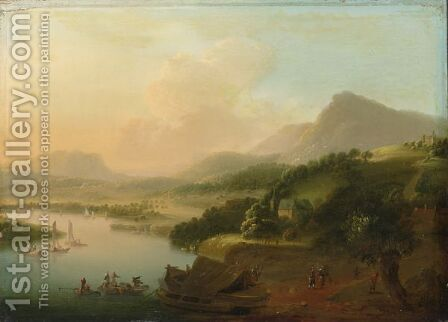 An Extensive River Landscape With Merchants Unloading Their Cargo, Travellers To The Foreground by (after) Christian Georg II Schutz Or Schuz - Reproduction Oil Painting