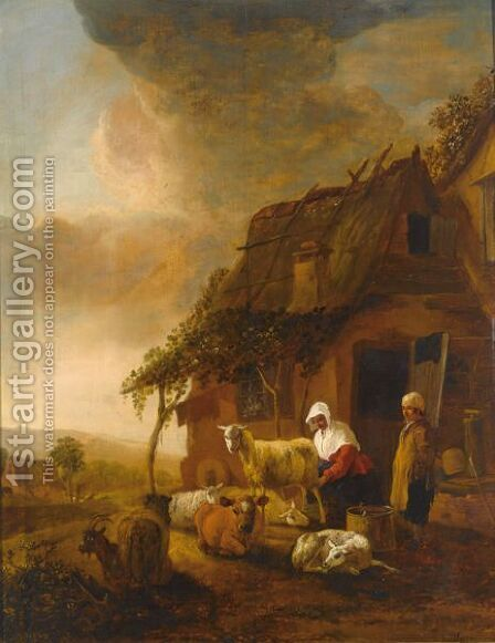 A Shepherdess Milking Sheep Near A Farmhouse by Jan Baptist Wolfaerts - Reproduction Oil Painting