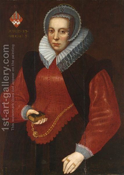 A Portrait Of A Lady Of The Van Der Burcht Family, Aged 33, by Dutch School - Reproduction Oil Painting