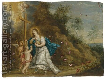 Mary Magdalene In Penitence In A Landscape With Putti by (after) Pieter Van Avont - Reproduction Oil Painting