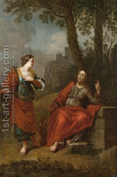 Christ And The Woman Of Samaria by Dutch School - Reproduction Oil Painting