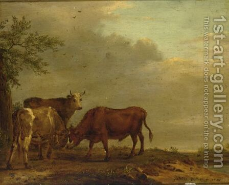 Fighting Bulls In A Landscape by (after) Adriaen Van De Velde - Reproduction Oil Painting