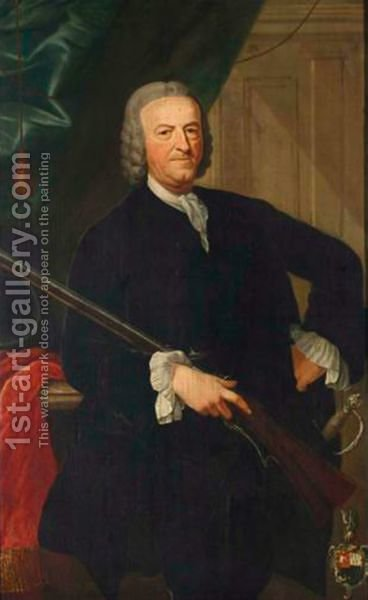 A Portrait Of Huibert Snoeck, Standing Three-Quarter Length, Holding A Sportsgun by Dutch School - Reproduction Oil Painting